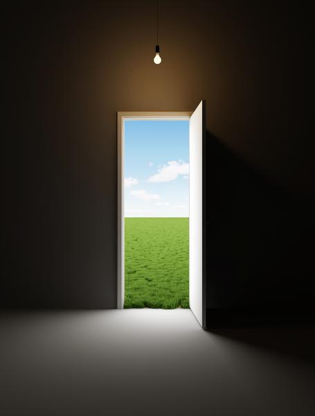 Dark Empty Room With Opened Door